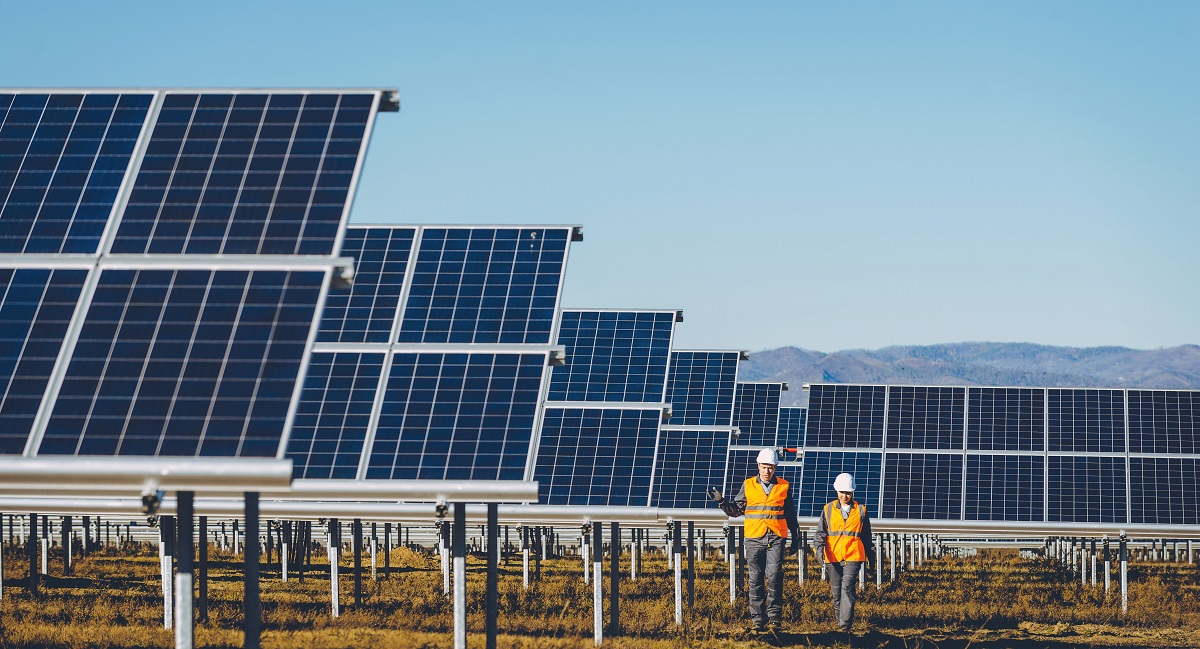 Photo of workers at solar farm