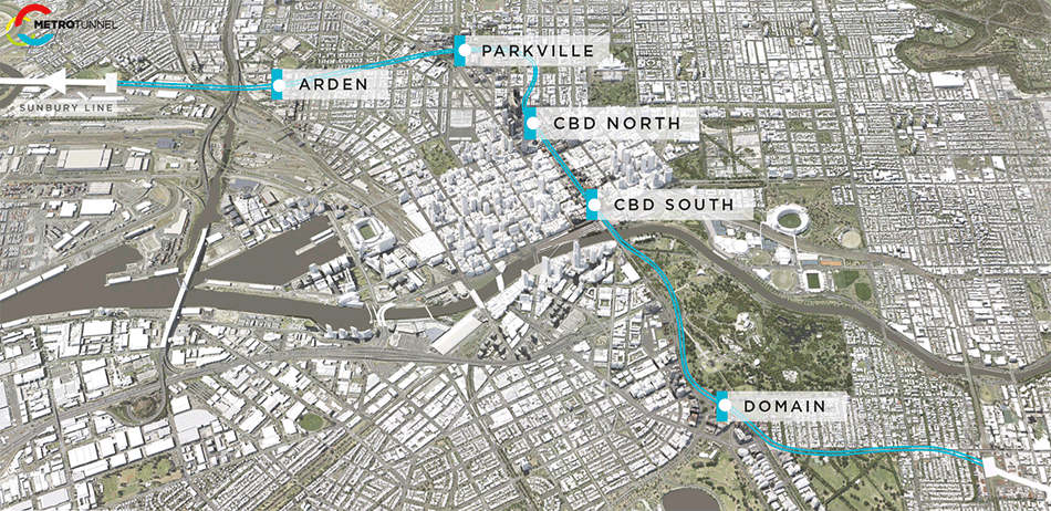 Melbourne Metro Tunnel route map